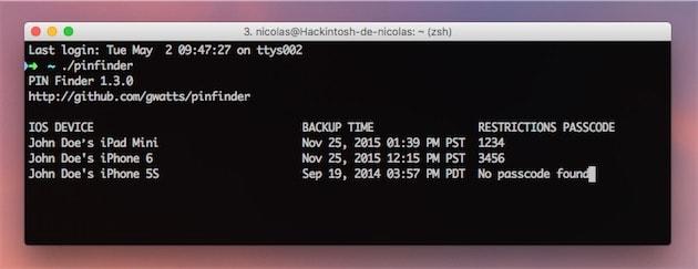 Pinfinder retrouve le code de restriction des appareils iOS