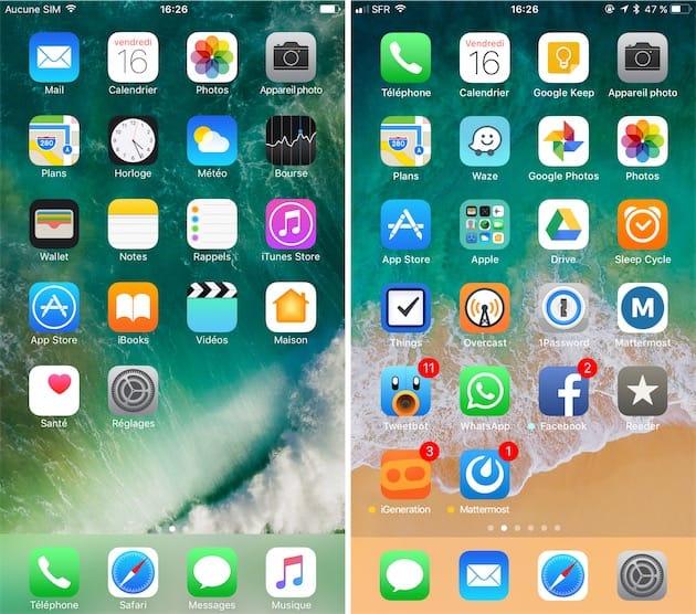 Design ios 11 compar ios 10 igeneration for Photo ecran ios 11