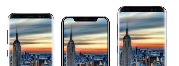 Un concept d'« iPhone 8 » entre deux Samsung Galaxy S8. Image Benjamin Geskin/iDropNews.