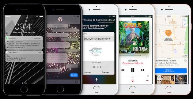 Une rangée d'iPhone 7 avec leur fameux capteur Touch ID. Image Apple.
