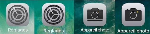 Les icônes sous iOS10 à gauche, celles sous iOS11 à droite. Attention, c'est subtil. Cliquer pour agrandir