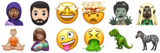 Quelques emojis, parmi tous les nouveaux qui devraient arriver cette année. Cliquer pour agrandir