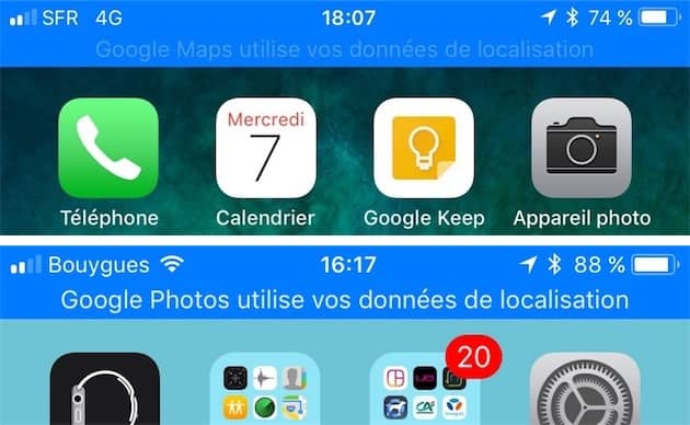 Deux exemples du bandeau bleu affiché par les premières bêtas d'iOS11.