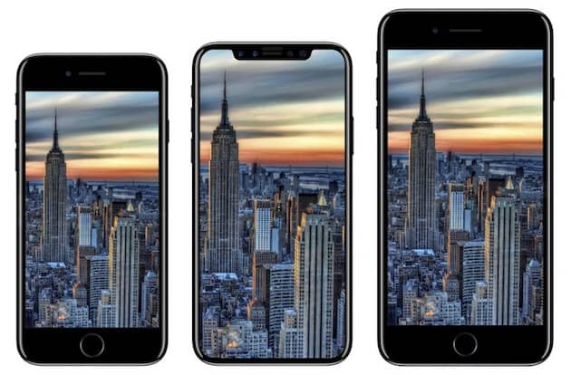 La gamme, telle que décrite par la rumeur depuis des mois: deux téléphones mis à jour (gauche et droite) et un tout nouveau modèle OLED (centre). Cliquer pour agrandir