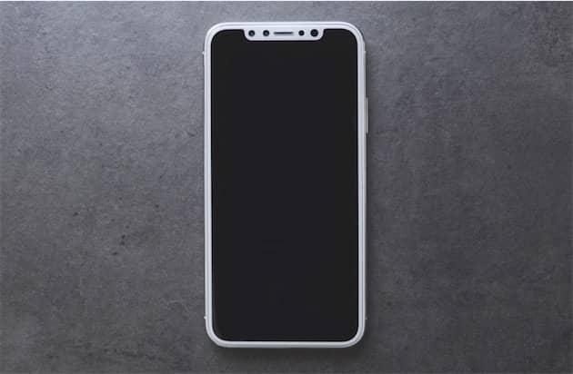 Maquette d'iPhone 8, avec la rangée de capteurs en haut. Cliquer pour agrandir