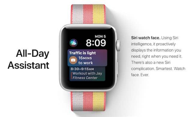 Le cadran Siri, l'une des nouveautés de watchOS4. Cliquer pour agrandir