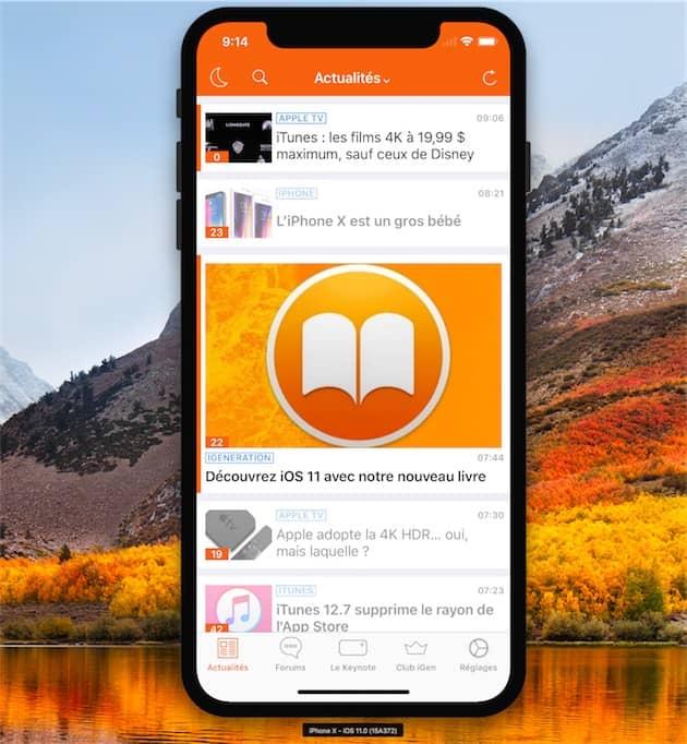 La dernière version d'iGeneration. Sur un iPhoneX! Cliquer pour agrandir