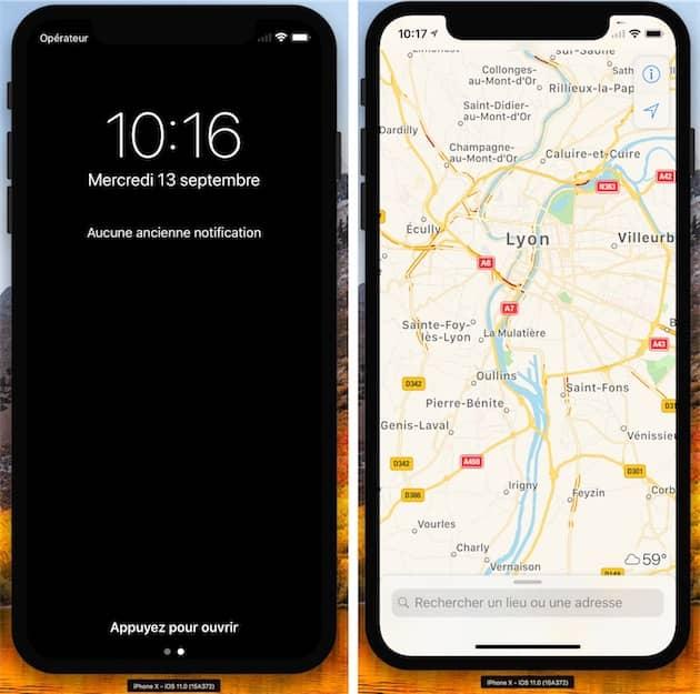 Le centre de notifications/écran verrouillé affiche le nom de l'opérateur en permanence en haut à gauche de l'écran (gauche). À droite, on note l'icône de géolocalisation à gauche, près de l'heure. Du côté droit, on peut voir l'indicateur de chargement. Cliquer pour agrandir