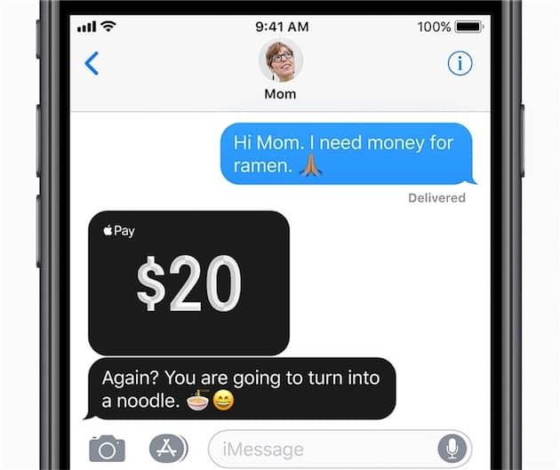 La fonction Apple Pay Cash dans iMessage (image Apple). Cliquer pour agrandir