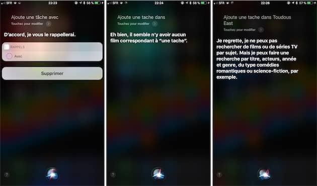 Florilège de réponses absurdes de Siri. Cliquer pour agrandir