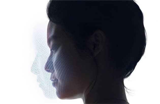 Profil d'un visage créé par Face ID : un ensemble de 30 000 points sur trois dimensions. Cliquer pour agrandir