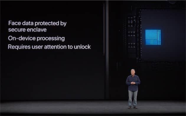 Comme ses prédécesseurs, l'Apple A11 Bionic intègre une enclave sécurisée où les informations biométriques sont exclusivement stockées. Cliquer pour agrandir