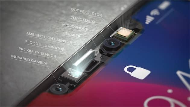 Face ID nécessite une combinaison de plusieurs capteurs et appareils différents pour fonctionner. Outre la caméra principale, une caméra infrarouge, un projecteur de points et un projecteur de lumière infrarouge (invisible à l'œil nu évidemment) sont exploités en même temps. Cliquer pour agrandir