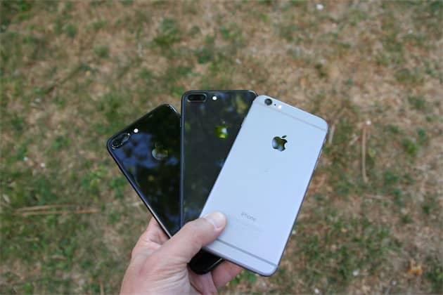 iPhone 7 Plus noir de jais, iPhone 8 Plus gris sidéral et iPhone6Plus gris sidéral. Le même nom pour deux couleurs qui n'ont pas grand-chose à voir. Cliquer pour agrandir
