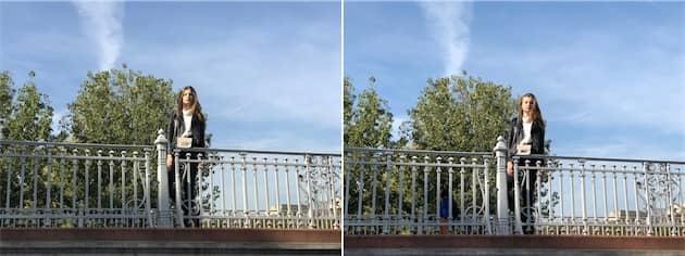 Photo avec le téléobjectif sur l'iPhone7Plus à gauche et sur l'iPhone8Plus à droite. Cliquer pour agrandir