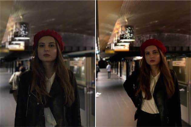 Mode portrait avec l'iPhone7Plus à gauche et avec l'iPhone8Plus à droite. Cliquer pour agrandir