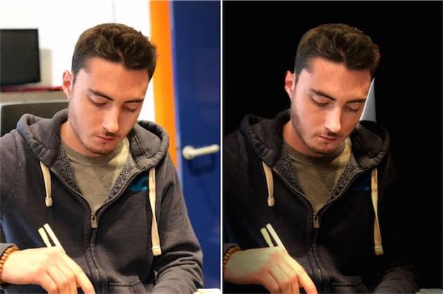 Deux éclairages de portrait différent: studio à gauche, scène à droite. Les deux modes de scène ont encore beaucoup de mal à déterminer précisément les contours du portrait: ici, l'iPhone a gardé un bout de mur à droite. Cliquer pour agrandir