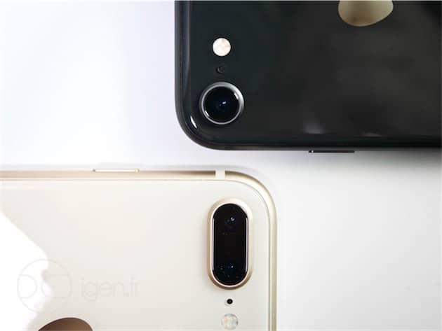 Le double appareil photo reste l'apanage de l'iPhone 8 Plus (en bas). L'iPhone 8 standard (en haut) reste équipé d'une seule caméra. Cliquer pour agrandir