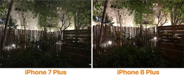 Cet exemple met bien en valeur les points forts de l'iPhone 8 Plus quand la lumière vient à manquer. Il y a moins de bruit numérique et plus de couleurs vives sur le nouvel appareil photo, alors que la photo produite par l'iPhone 7 Plus semble plus fade, presque délavée. Cliquer pour agrandir