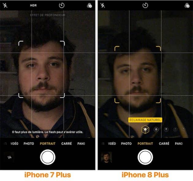Le mode portrait gagne en souplesse avec l'iPhone 8 Plus. Sur cet exemple dans l'obscurité, le mode est activé sur le nouveau modèle (droite), mais inactif sur l'ancien (gauche). Cliquer pour agrandir