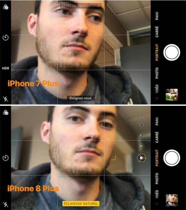 La mise au point indispensable au mode portrait peut également se faire de plus près sur l'iPhone 8 Plus (en bas). L'iPhone 7 Plus (en haut) est plus exigeant également sur ce point. Cliquer pour agrandir