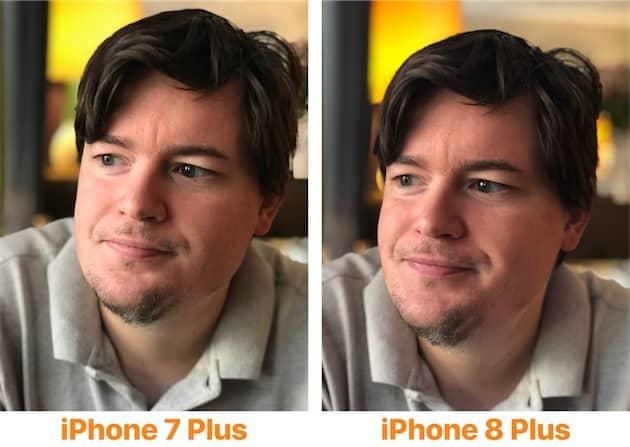 Cet exemple met surtout en avant la colorimétrie différente des deux iPhone. L'iPhone 8 Plus (droite) s'en sort mieux aussi sur les couleurs du visage, la lumière est mieux dosée et plus naturelle. Cliquer pour agrandir