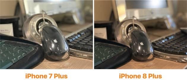 Cette comparaison met bien en valeur le meilleur traitement du bruit numérique. Il en reste sur la photo en mode portrait de l'iPhone 8 Plus (droite), mais pas autant. Cliquer pour agrandir