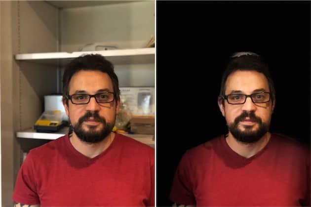 Sur ce portrait sur un fond qui n'est pas uni, l'éclairage de scène ne parvient pas à découper correctement le portrait, notamment au-dessus des cheveux. Cliquer pour agrandir