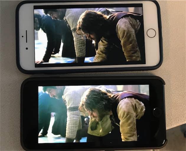 Netflix en mode HDR en haut, en standard en bas, sur deux iPhone 8 Plus. La photo renforce la différence, mais elle est aussi bien nette à l'écran : les contrastes sont renforcés en mode HDR, les couleurs plus chaudes. Cliquer pour agrandir