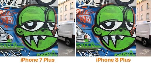 Sur cette photo, seul l'iPhone 8 Plus (droite) a déclenché le mode HDR, l'iPhone 7 Plus ne l'a pas fait. C'était un cas où le mode était utile pourtant, notamment pour la partie ensoleillée en haut et sur le bâtiment à gauche. Les couleurs sont plus saturées sur le tag. Cliquer pour agrandir