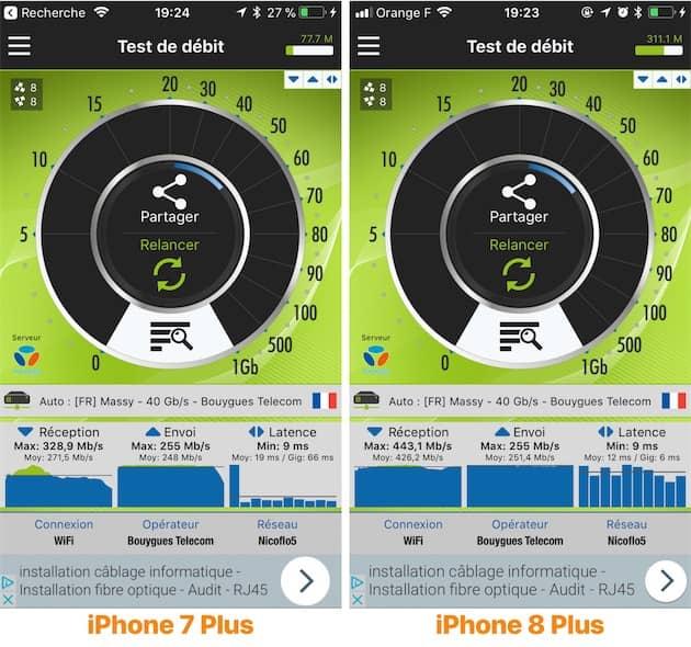Mesure de la vitesse de la puce Wi-Fi réalisée avec Nperf sur deux iPhone placés au même endroit, reliés à un réseau Wi-Fi ac et une connexion fibrée. Cliquer pour agrandir