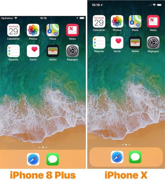 L'écran d'accueil affiche le même nombre d'icônes sur l'iPhone X, mais chaque icône est plus proche de ses voisines. Cliquer pour agrandir