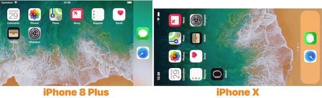 L'iPhone 8 Plus dispose d'une interface spécifique pour l'écran d'accueil en mode paysage, pas l'iPhone X. Cliquer pour agrandir