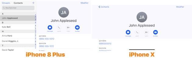 Contacts s'affiche en paysage dans les deux cas, mais seul l'iPhone 8 Plus présente à la fois la liste et une fiche contact. Cliquer pour agrandir