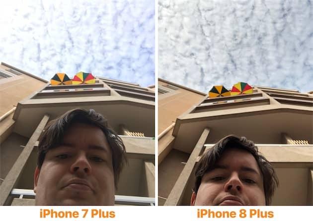 Sur ces égoportraits, on voit bien la différence de traitement entre les deux modèles. L'iPhone 8 Plus affiche des couleurs plus chaleureuses et restitue mieux les couleurs du visage, tout en affichant plus de détails dans le ciel. Cliquer pour agrandir