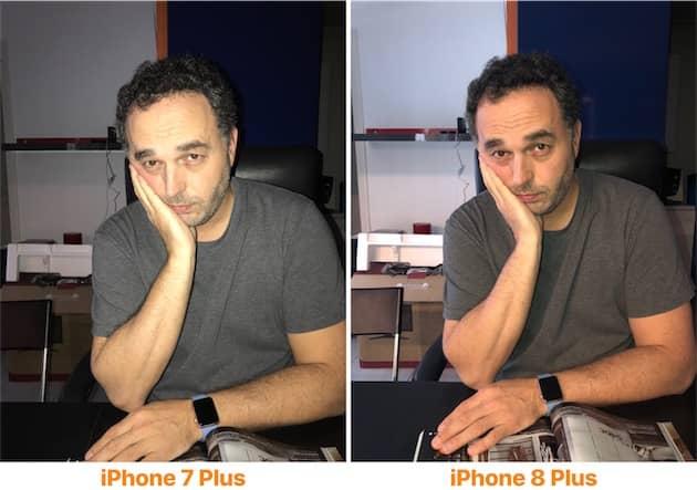 Le flash est beaucoup plus naturel sur l'iPhone 8 Plus (droite), à tel point que l'on peut douter de sa présence. Sur l'iPhone 7 Plus (gauche), impossible de passer à côté en revanche. Cliquer pour agrandir