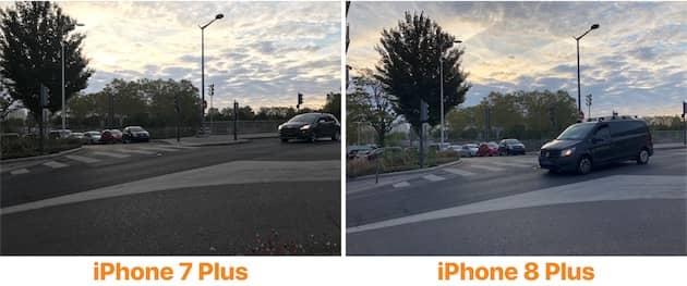 Ces deux photos montrent bien les progrès réalisés par l'iPhone 8 Plus en mode HDR. Le ciel en particulier est représenté plus fidèlement sur le nouveau modèle. Cliquer pour agrandir