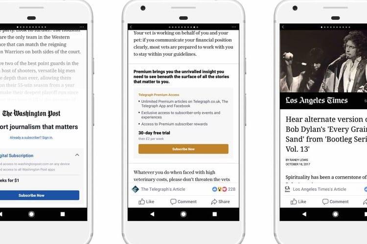 Apple accepte les verrous payants pour les articles de presse dans l'app Facebook