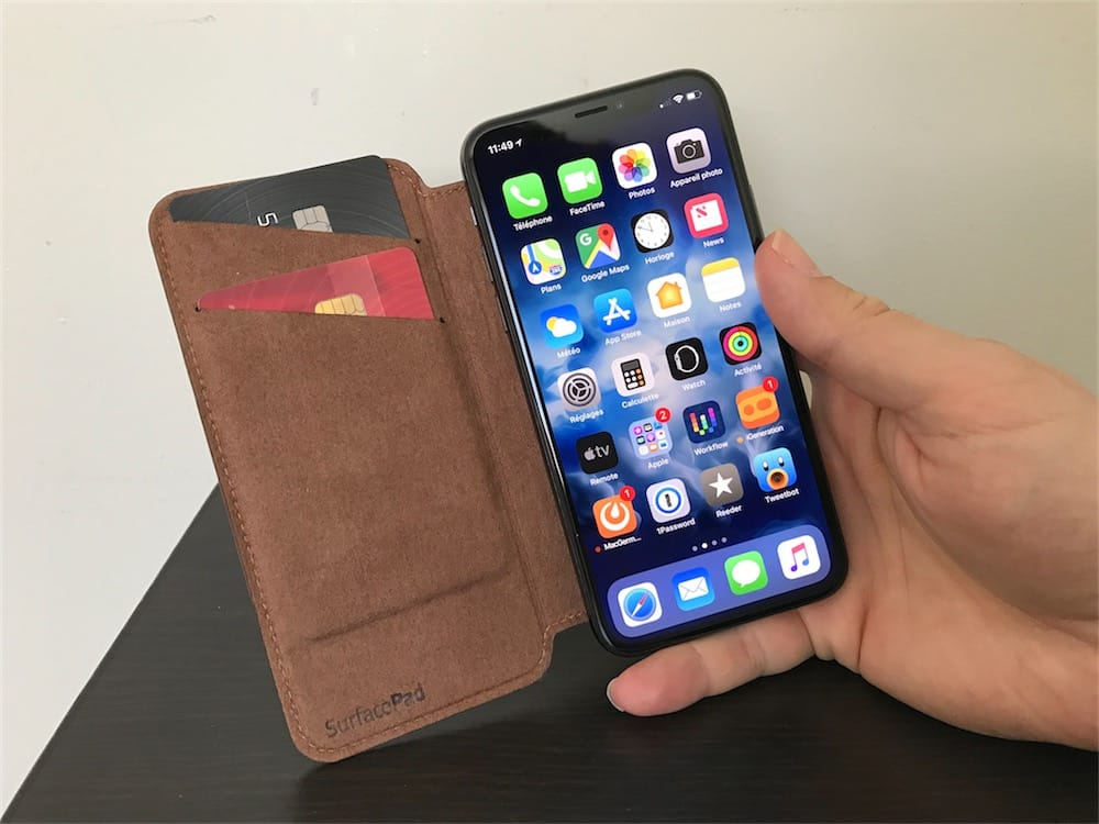 coque cuir iphone x carte bancaire