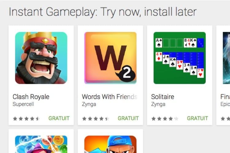Google Play Instant : des jeux disponibles sans téléchargement sur Android