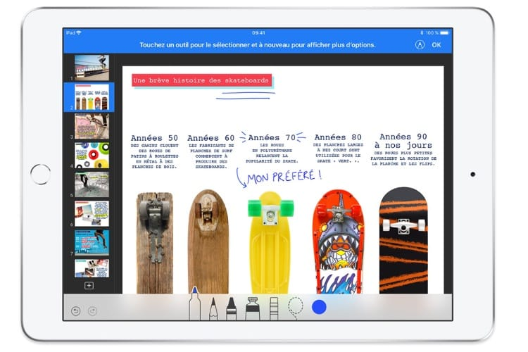 Pages, Numbers et Keynote tirent parti de l'Apple Pencil