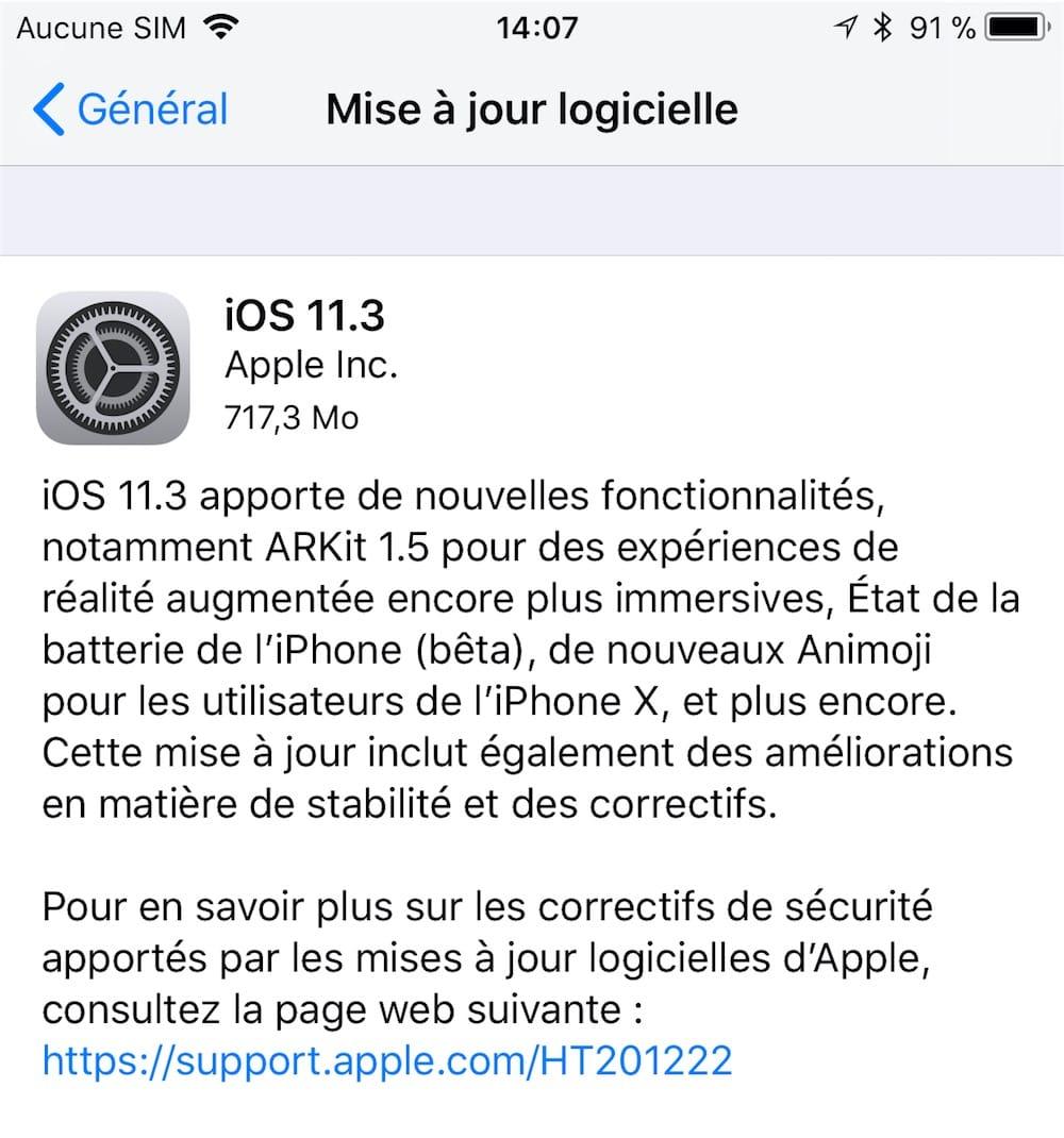 cb80d11f17 iOS 11.3 qui est maintenant disponible pour tout le monde ne fait pas  exception.