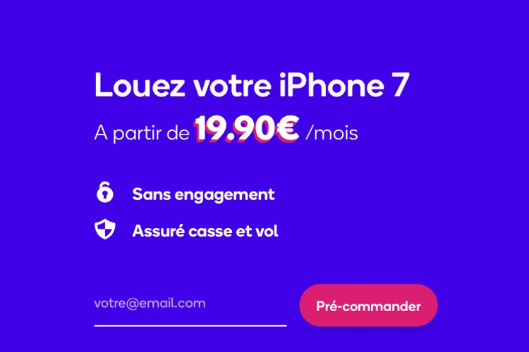 mobile.club loue un iPhone 7 à 20 € par mois sans engagement