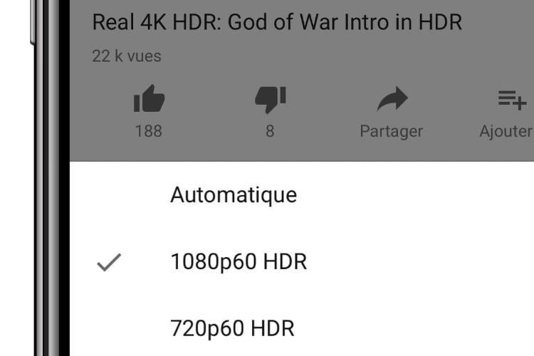 YouTube affiche ses vidéos HDR sur les iPhoneXS