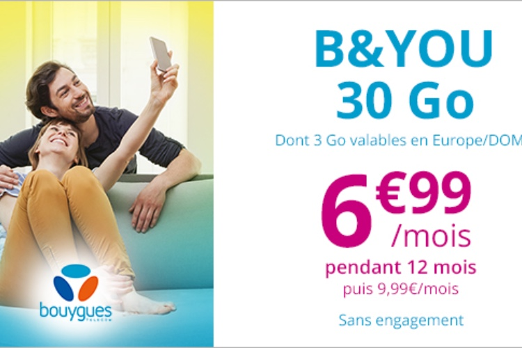 Promo: 30Go de 4G chez B&You pour 6,99€ par mois pendant un an