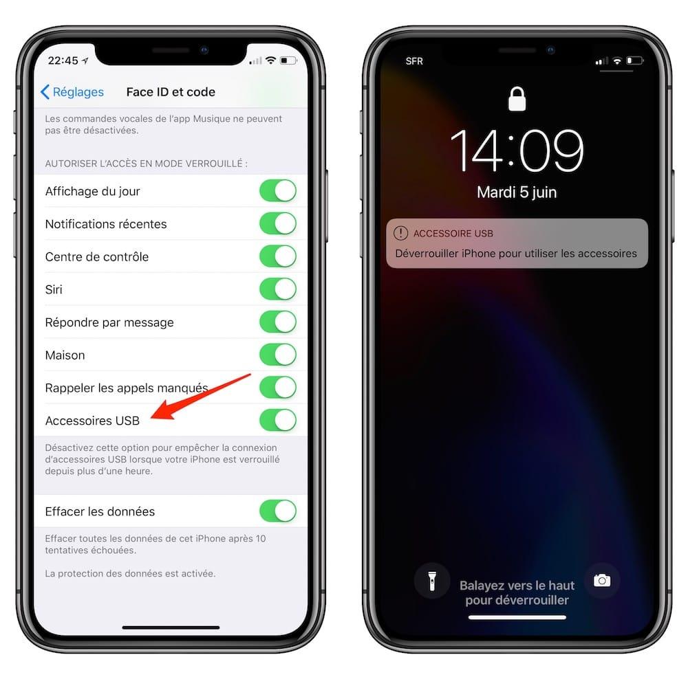 En la désactivant, on empêche effectivement la connexion d\u0027accessoires USB  si l\u0027iPhone est verrouillé depuis plus d\u0027une