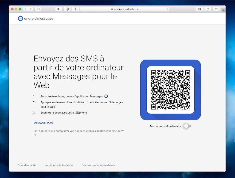 Envoyer des messages depuis l'ordinateur — Android Messages