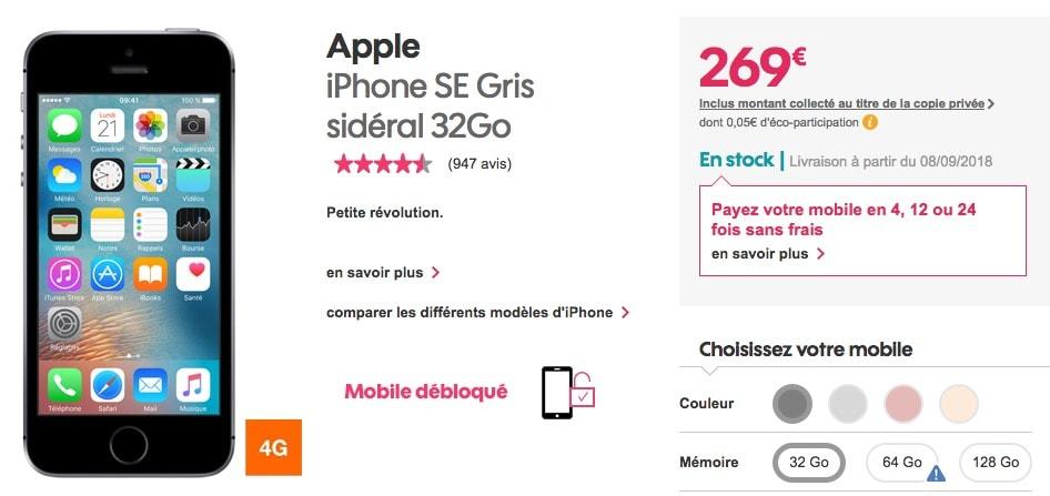 1c0719ff5741 Le prix de l iPhone SE continue de tomber. Alors que la version 32 Go est  toujours affichée à 419 € chez Apple, Sosh la vend seulement 269 € en ce  moment.